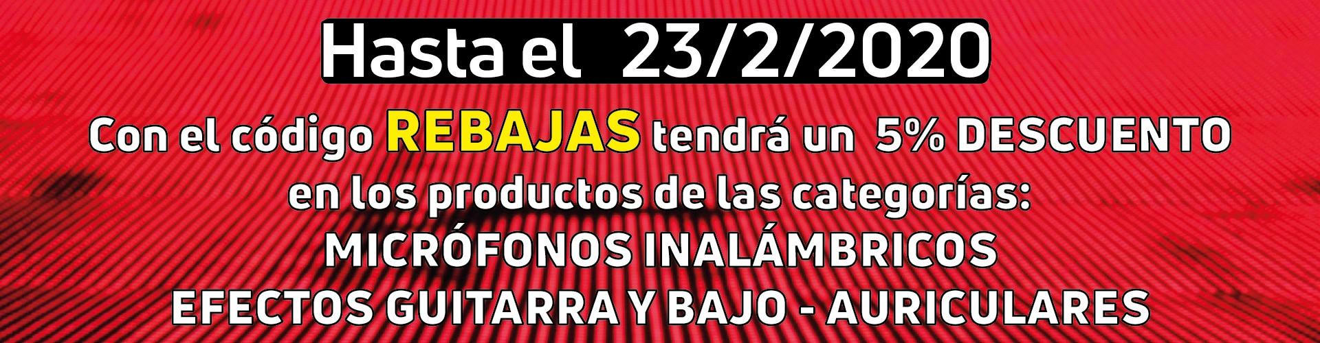 Rebajas 5% en las familias: Micrófonos inalámbricos / Efectos Guitarra y Bajo / Auriculares - hasta 23/02