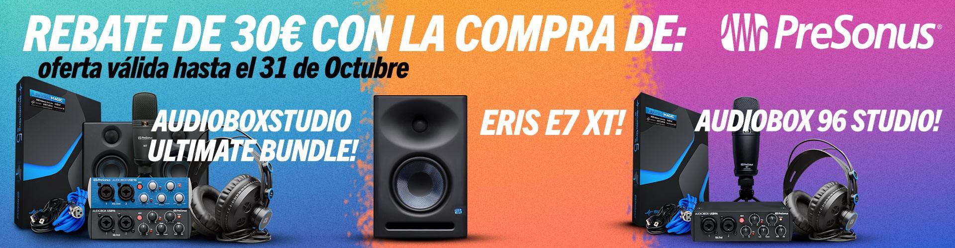 Rebate de 30€ con la compra de: Audiobox Studio Ultimate Bundle, Eris E7 XT y Audiobox 96 Studio